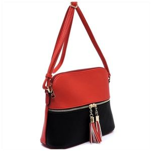 Red Black Tassel Zip Dome Crossbody Bag Satchel